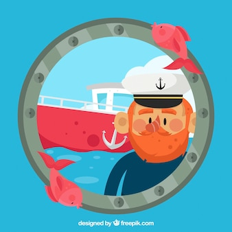 Nautical background with captain and boat