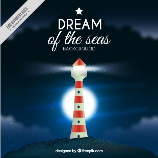 Nautical background with shiny lighthouse