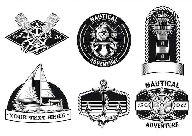 Nautical badge design set