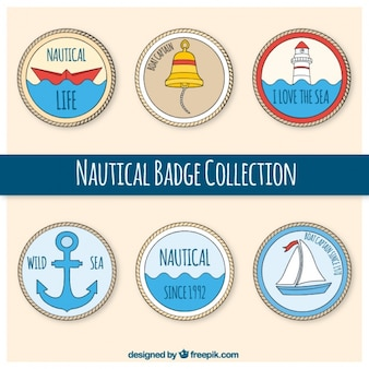 Nautical badges, hand drawn