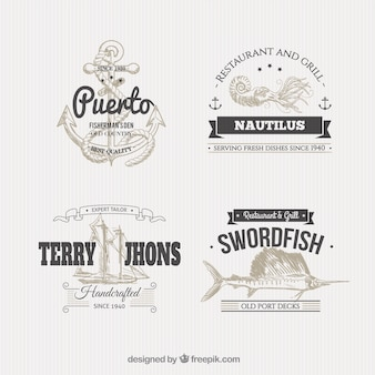 Nautical badges in illustration style