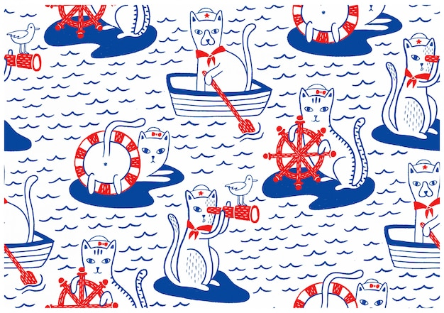Nautical cats seamless pattern