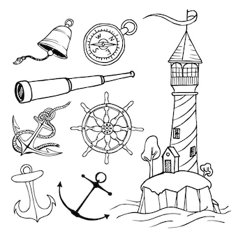 Nautical collection. hand drawn vector illustration of lighthouse, anchor, boat