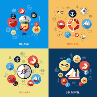 Nautical colored composition set and oceanic nautical anchors sea travel descriptions vector illustration