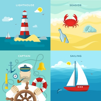 Nautical colored icon set