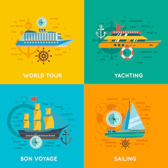Nautical concept flat icons square