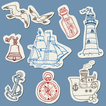 Nautical doodles on torn paper- hand drawn collection