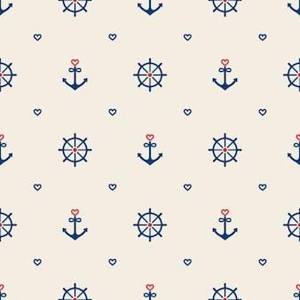 Nautical elements pattern design