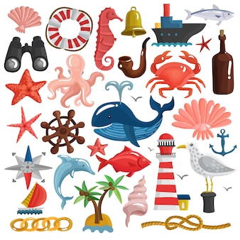 Nautical elements and sea life set