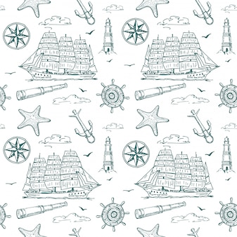 Nautical elements seamless pattern. sea background.
