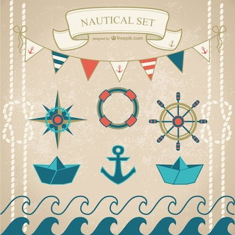 Nautical elements with paper boats