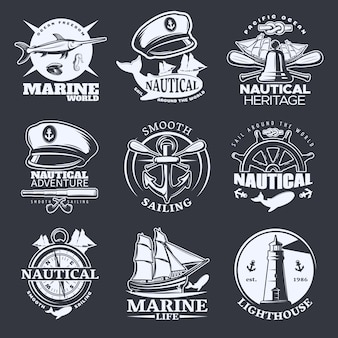 Nautical emblem set on black with marine world nautical sail around the world smooth sailing descriptions