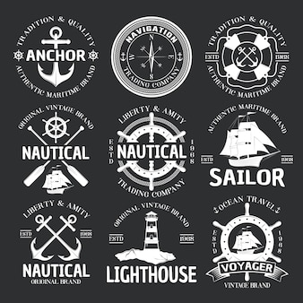 Nautical emblem set on black
