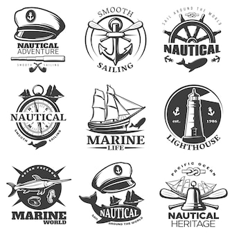 Nautical emblem set with sail around the world marine life lighthouse marine world descriptions