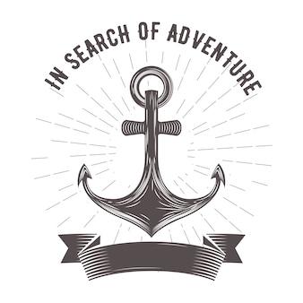 Морская эмблема с якорем и знаменем
