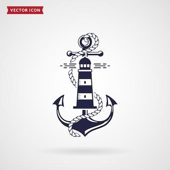 アンカー、灯台、ロープが付いた航海のエンブレム。 tシャツ、海のラベルやポスターのエレガントなデザイン。白い背景に分離されたネイビーブルーの要素。ベクトルイラスト。