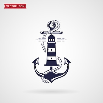 Nautical emblem with anchor, lighthouse and rope. elegant design for tshirt, sea label or poster. navy blue element isolated on white background. vector illustration.