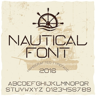 Nautical hand crafted typeface poster with ship in the centre
