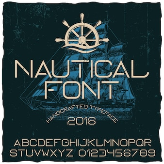 Nautical hand crafted typeface poster with ship on dark