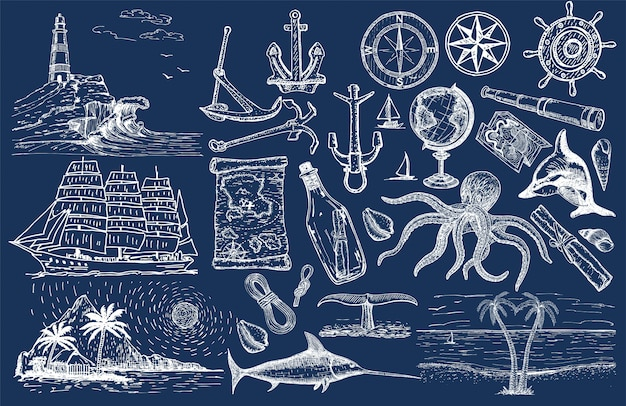 Nautical hand drawn  set. sailing sketch. vector marine objects.