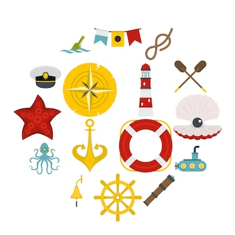 Nautical icons set in flat style