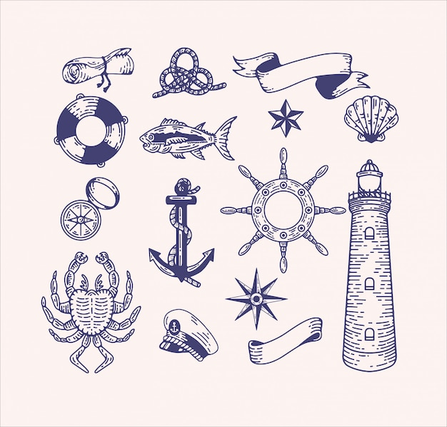 Nautical illustration clip art set. engraved vintage sea elements for logo design and branding. captain, ocean voyage, sea creatures, beach, ship equipment