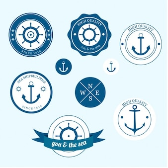 Nautical labels Free Vector
