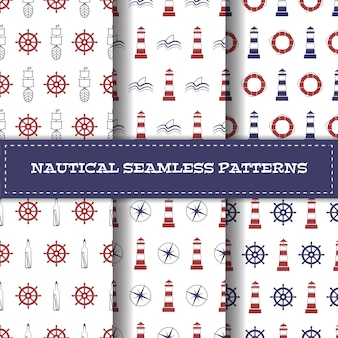 Nautical line art patterns set