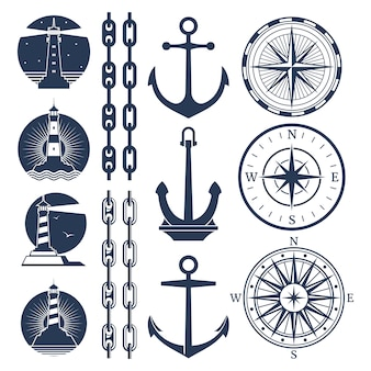 Nautical logos and elements set - compass lighthouses anchor chains