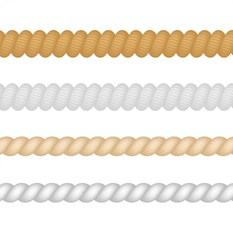 Nautical, marine, naval, twine thickness rope set isolated.  illustration.