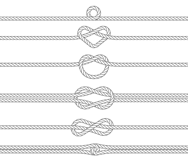 Nautical marine rope, borders for divider and frame, vector illustration