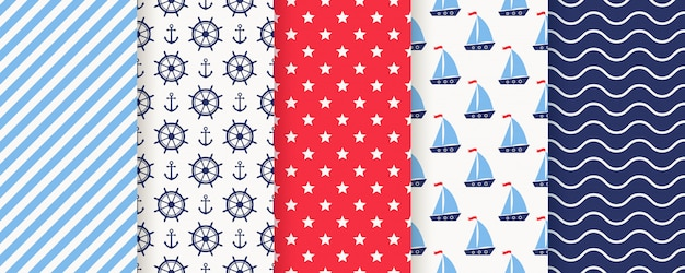 Nautical, marine seamless pattern. illustration. sea backgrounds.