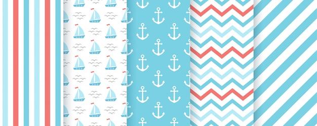 航海、海洋のシームレスなパターン。イラストセット