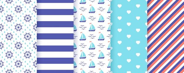 航海、海洋のシームレスなパターン。