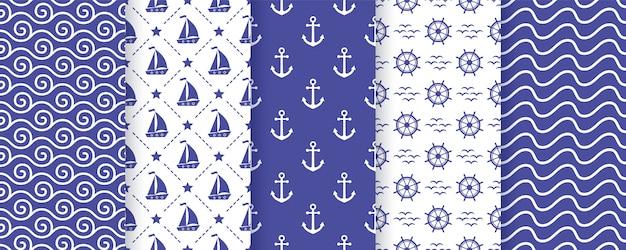 Морской, морской бесшовные модели.