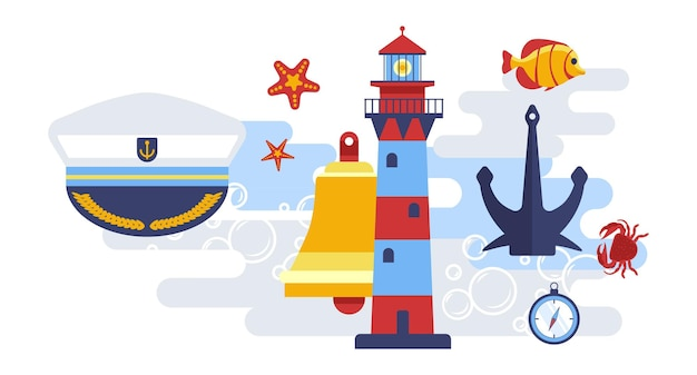 Nautical and marine symbols sea themed decor