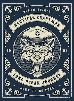 Nautical and marine vintage template