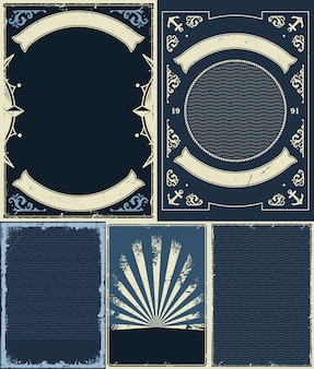 Nautical and marine vintrage backgrounds set