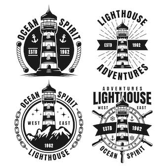 Nautical monochrome emblems with lighthouse isolated on white