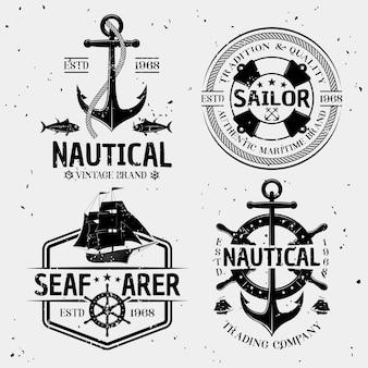 Морские монохромные логотипы