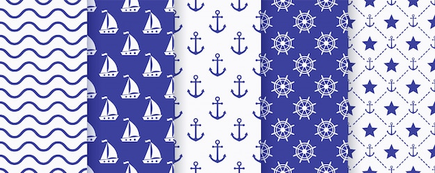 Nautical monochrome seamless pattern set