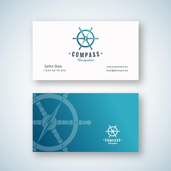 Nautical navigation abstract vector logo and business card template.