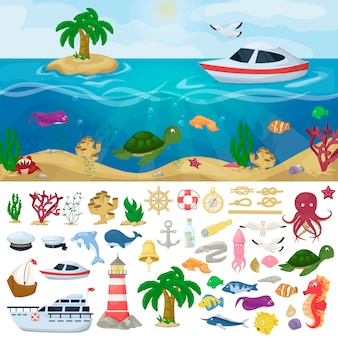 Nautical navy boats marine ocean sea animals