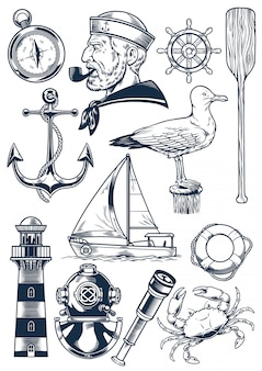 Nautical object set in vintage engraving style