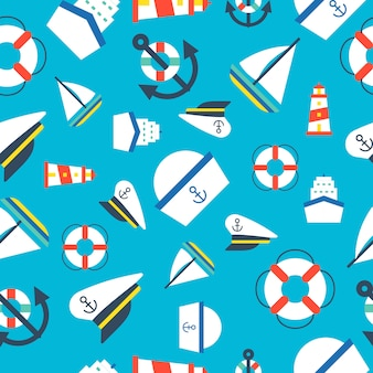 Nautical and ocean seamless pattern