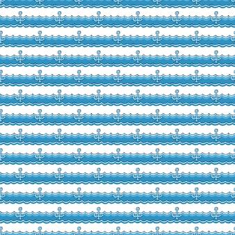 항해 패턴, 파도에 앵커입니다. 여름 배경입니다. 우아하고 고급스러운 스타일의 일러스트레이션