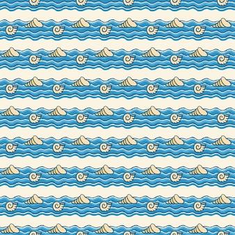 航海パターン、波の上の海洋動物。夏の背景。エレガントで豪華なスタイルのイラスト