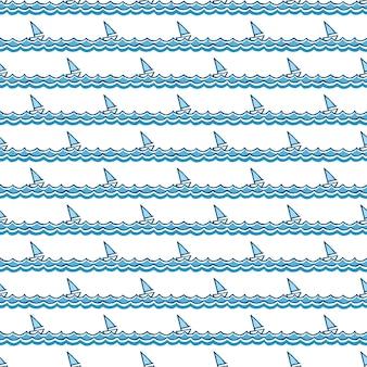 Морской узор, парусники на волнах. летний фон. элегантный и роскошный стиль иллюстрации