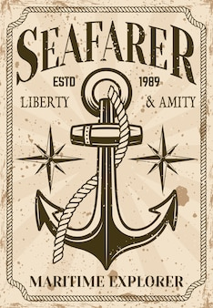 Nautical poster in vintage style with anchor and grunge textures illustration