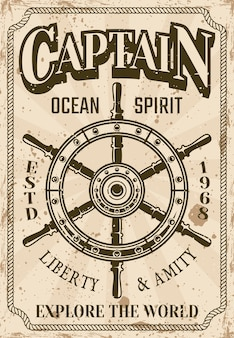 Nautical poster in vintage style with steering wheel of ship illustration